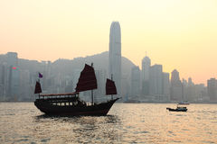 Skyline of Hong Kong. In the evening Royalty Free Stock Images