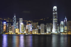Skyline, Hong Kong. The skyline of Hong Kong Island viewed from across the harbor on Kowloon royalty free stock image