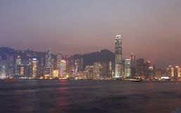 Skyline of Hong Kong at night Royalty Free Stock Photography