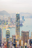 Skyline of Hong Kong seen from Victoria Peak Royalty Free Stock Photo