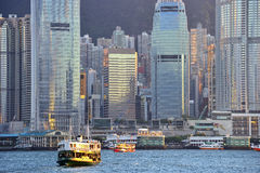 Skyline of Hong Kong at sunset. Royalty Free Stock Images