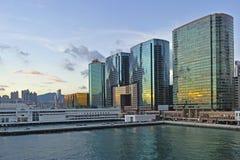 Skyline of Hong Kong at sunset. Royalty Free Stock Photo