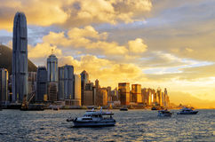 Skyline of Hong Kong at sunset Royalty Free Stock Photo