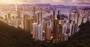 Skyline of Hong Kong from Victoria Peak. Hong Kong Royalty Free Stock Photography