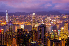 Skyline of Hong Kong from Victoria Peak. Hong Kong. Royalty Free Stock Image
