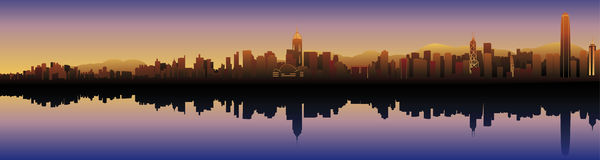 Skyline of Hongkong. At sunset with modern skyscrapers Stock Images