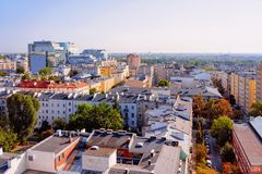 Skyline with house roofs in Warsaw city center. In Poland royalty free stock photo