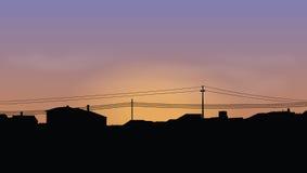 Skyline of houses. At sundown Stock Photography