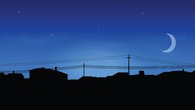 Skyline of houses. At night Royalty Free Stock Images