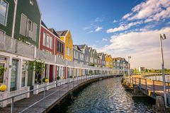 Skyline of Houten with famous Rainbow Houses in Netherlands Royalty Free Stock Image