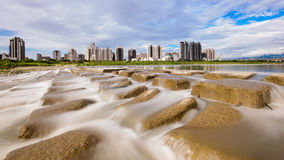 Skyline of Hsinchu city, taiwan. Skyline of Hsinchu by the river in Taiwan Stock Photography