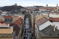 Skyline of Hybernska street in Prague Stock Photography