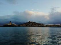 Skyline ibiza. Skyline de ibiza con tormenta de fondo y lluvia royalty free stock image