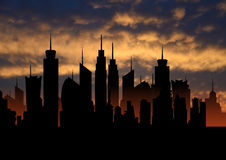 Skyline ideal city metropolis with sunset, cityscape silhouette, skyscrapers illustration Royalty Free Stock Images