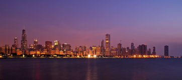 Skyline of illuminated Downtown Chicago Stock Image