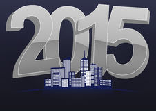 2015 skyline. Illustration of 2015 text with skyline city Stock Images