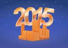 2015 skyline. Illustration of 2015 text with skyline city Stock Image