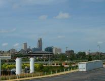 Skyline im Stadtzentrum gelegenen Omaha-, Nebraska stockfotografie