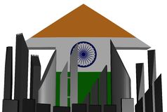 Skyline and India flag arrow Stock Photo