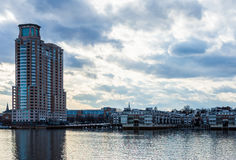 Skyline of Inner Harbor from Fells Point in Baltimore, Maryland stock photography