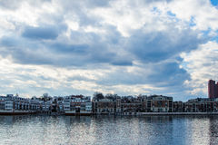 Skyline of Inner Harbor from Fells Point in Baltimore, Maryland stock image