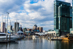 Skyline of Inner Harbor from Fells Point in Baltimore, Maryland Royalty Free Stock Image