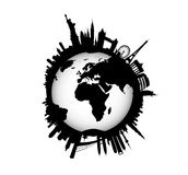 Skyline internacional com globo do mundo Imagens de Stock Royalty Free