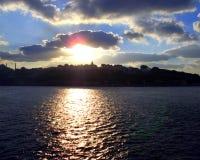 Skyline of IStambul. Estambul Turquia, turkey. Skyline of Istambul at sunset fron the sea royalty free stock images