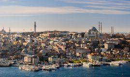 Skyline of Istanbul; Süleymaniye mosque in the right Stock Images