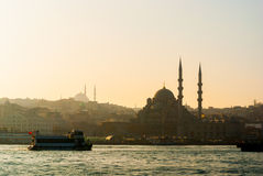 Skyline of Istanbul. With silhouette of mosques as seen from the Golden Horn Stock Images