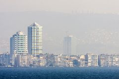 Skyscrapers in the skyline of Izmir Turkey Royalty Free Stock Photo