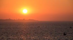 Skyline of Jiddah at sunset Stock Photo
