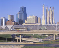 Skyline of Kansas City, Missouri with Interstate 10 Stock Photos