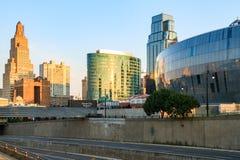 Skyline Kansas Citys Missouri ohne eingetragene Warenzeichen Stockfotos
