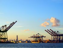 Skyline of Kaohsiung City. Silhouette of Kaohsiung city seen from the container port terminal Stock Images