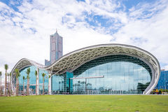 Skyline of kaohsiung. Kaohsiung Exhibition Center (KEC) and Tuntex Sky Tower, the tallest building in Kaohsiung Royalty Free Stock Photos
