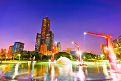 Skyline in Kaohsiung. Night scene of a park in Kaohsiung, Taiwan Royalty Free Stock Photo