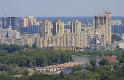 Skyline of Kiev at the Dnieper river Royalty Free Stock Images