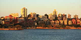 Skyline Kirribilli in Sydney at sunset. View to the district Kirribilli in North Sydney, Australia, at sunset Royalty Free Stock Photos