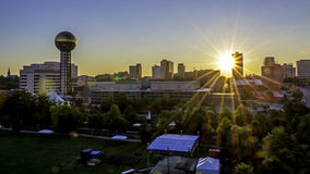 Skyline of Knoxville from UT ccampus. Sunrise in Knoxville Tennessee and skyline Royalty Free Stock Image