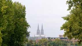 Skyline of Koln with the Dom church high above everything. Distant view on The Dom church in Koln, Germany Stock Photo