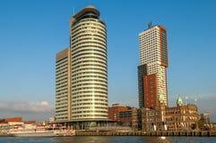 Skyline Kop van Zuid, Rotterdam, Nederland Stock Afbeelding