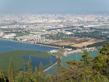 Skyline of Kunming, China. Cityscape with Dian Chi Lake from the western mountains Stock Photography