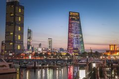 Skyline of Kuwait City at evening stock images