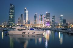 Skyline of Kuwait City at evening royalty free stock photography