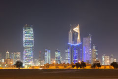 Skyline of Kuwait City at night Stock Images