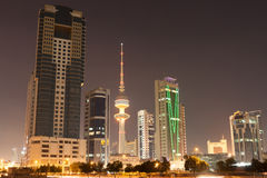 Skyline of Kuwait City at night Royalty Free Stock Images
