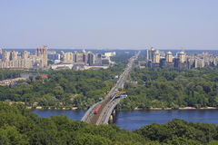 Skyline of Kyiv at the Dnieper river Royalty Free Stock Photos