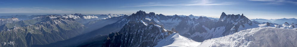 Skyline from L'Aguille du Midi. Panoramic view Stock Photography