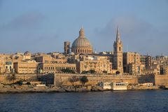Skyline of La Valletta, capital city of Malta. Skyline of La Valletta, capital city of Malta, evening light, view from Sliema Stock Image